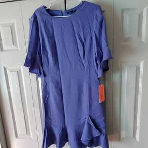 Gianni Bini womens dress Large blue ruffled sleeve